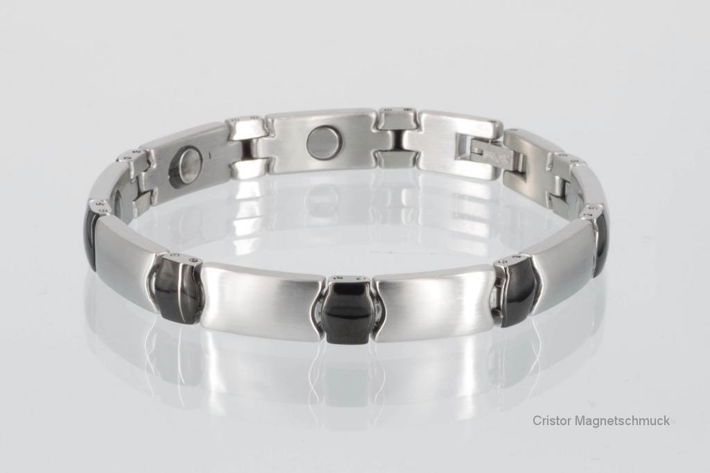 8482BLS - Magnetarmband in silber schwarz