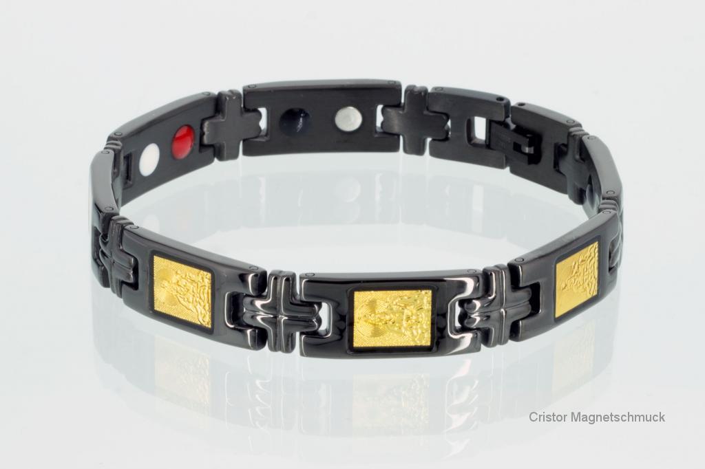E8180BLG - Energiearmband schwarz mit vergoldeten buddhistischen Motiven