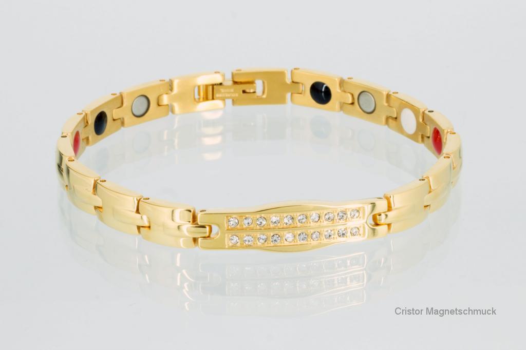 E8160G2Z - 4-Elemente Armband goldfarben mit Zirkoniasteinen