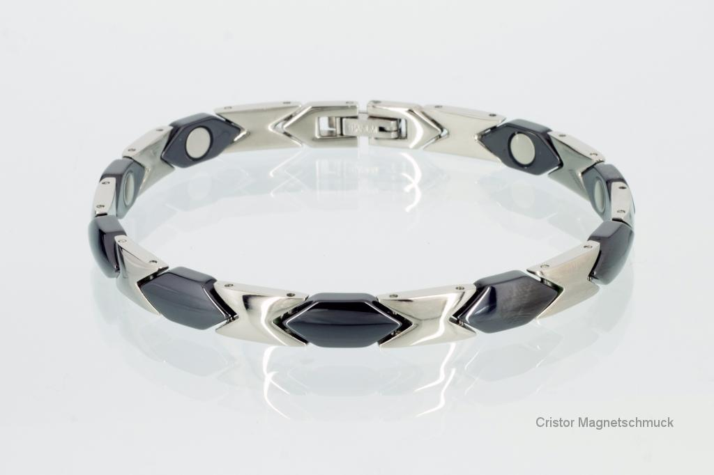 TC8234BLS - Titan-Magnetarmband silberfarben mit Ceramikglieder