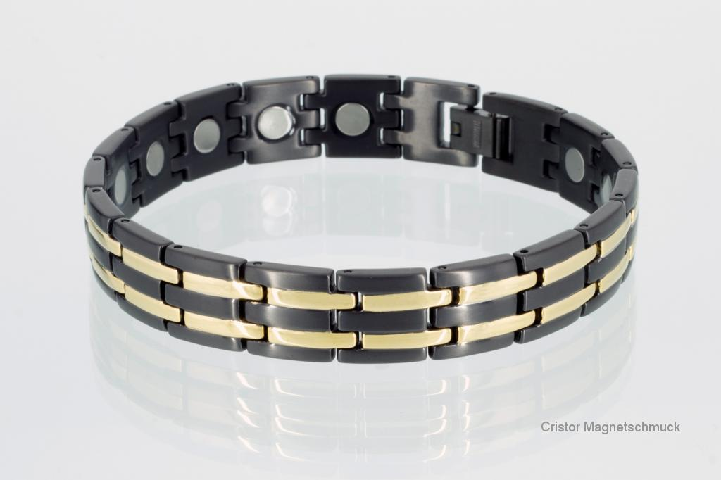 T8230BLG - Titan-Magnetarmband gold schwarz