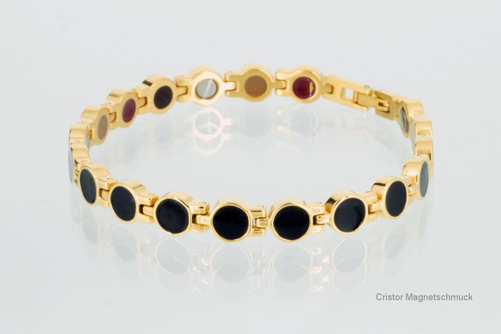 E8554BLG - 4-Elemente Armband gold schwarz