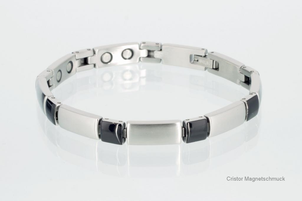8647BLS - Magnetarmband silber schwarz