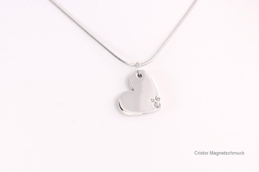 A1522SZ - Magnetanhänger silberfarben Herz mit weißen Zirkonia