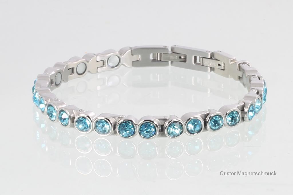 8512SZ - Magnetarmband silberfarben mit aquablauen Zirkonia