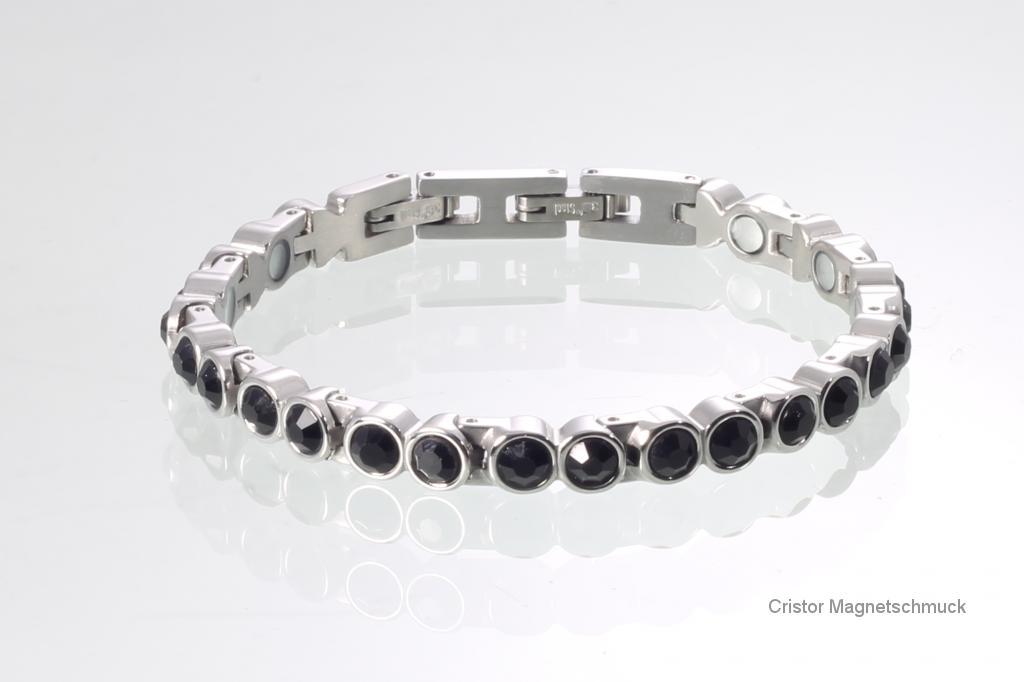 8513SZ - Magnetarmband silberfarben mit schwarzen Zirkonia