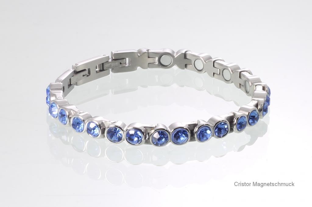 8515SZ - Magnetarmband silberfarben mit blauen Zirkonia