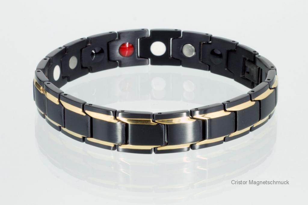 E8262BLG - 4-Elemente Armband gold schwarz