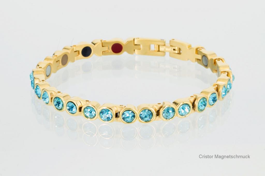 E8512GZ - 4-Elemente Armband goldfarben mit aquablauen Zirkonia