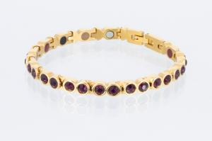 E8511GZ - 4-Elemente Armband goldfarben mit lilafarbenen Zirkonia