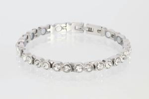 8517SZ - Magnetarmband silberfarben mit weißen Zirkonia