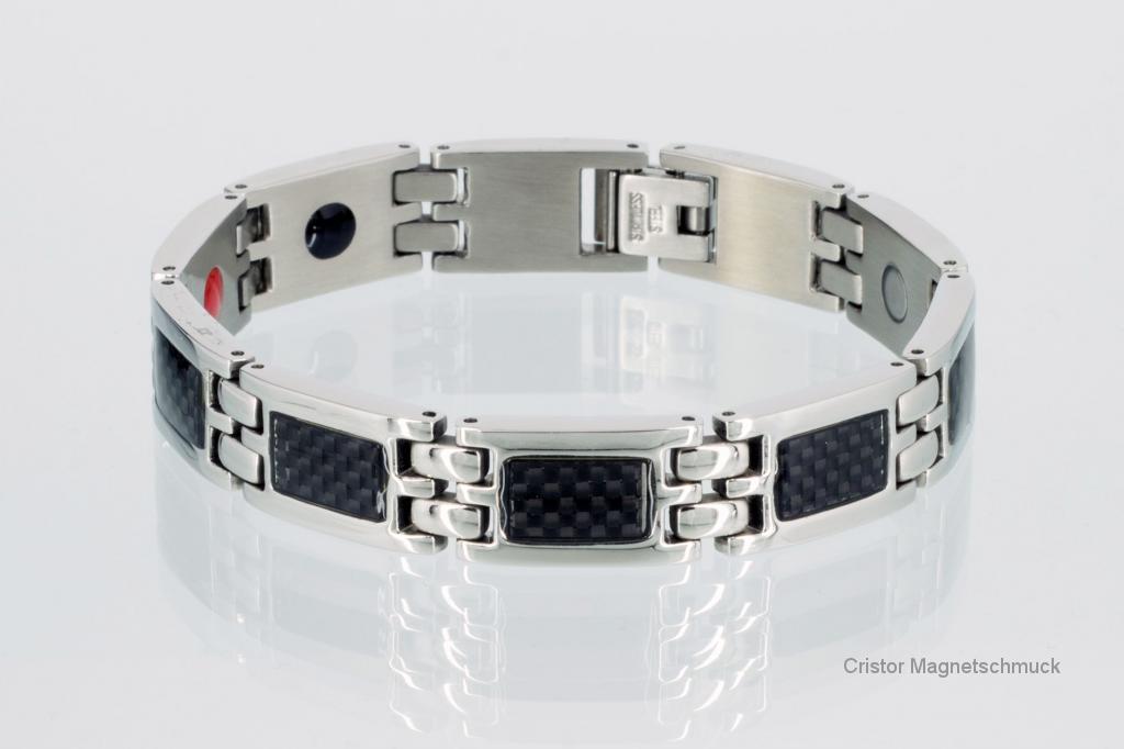 E8188BLS - 4-Elemente Armband silberfarben mit schwarzer Carbonfasereinlage