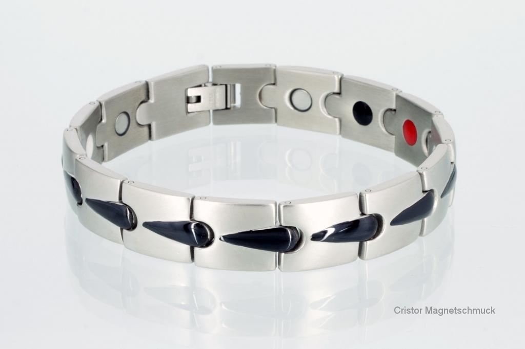 E8272BLS - 4-Elemente Armband silber schwarz