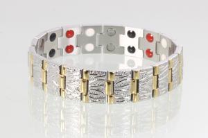 E8422B2 - Doppelreihiges 4-Elemente Armband bicolor