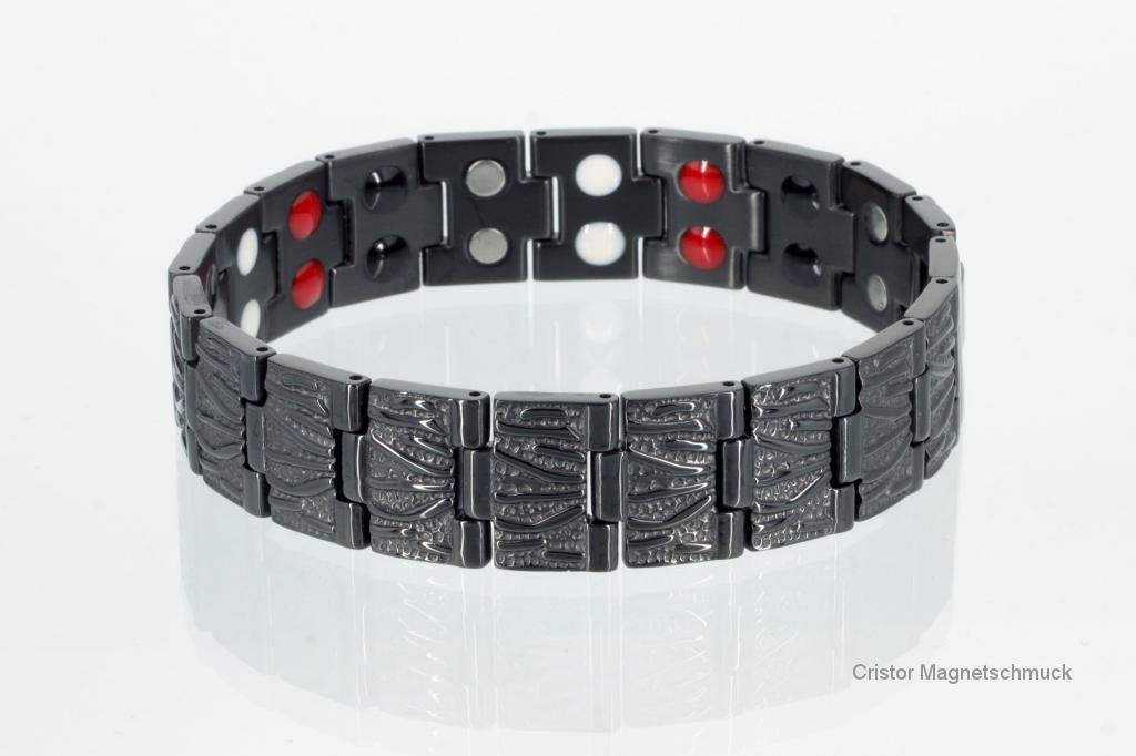 E8422BL - Doppelreihiges 4-Elemente Armband schwarz