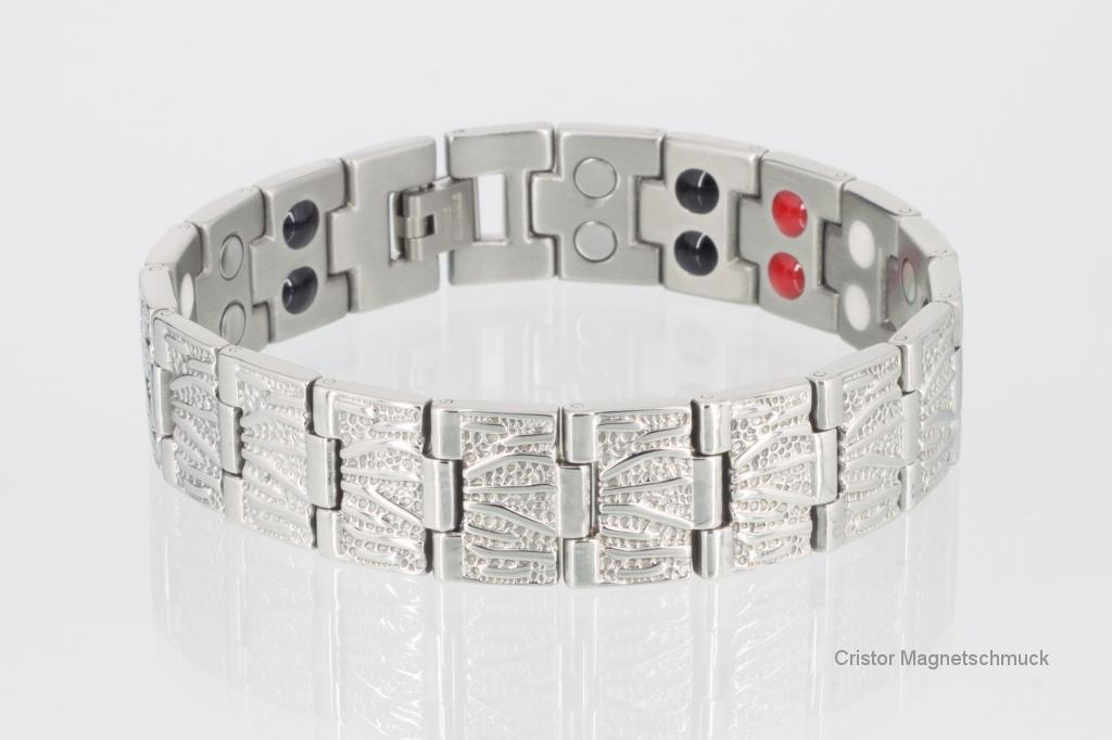 E8422S - Doppelreihiges 4-Elemente Armband silberfarben