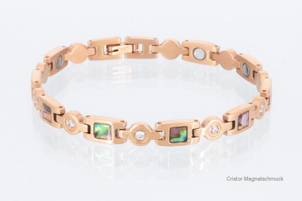 T8846RGZ - Titan-Magnetarmband rosegold mit Zirkonia und farbigen Einlagen