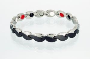 E8123BLS - 4-Elemente Armband schwarz silber