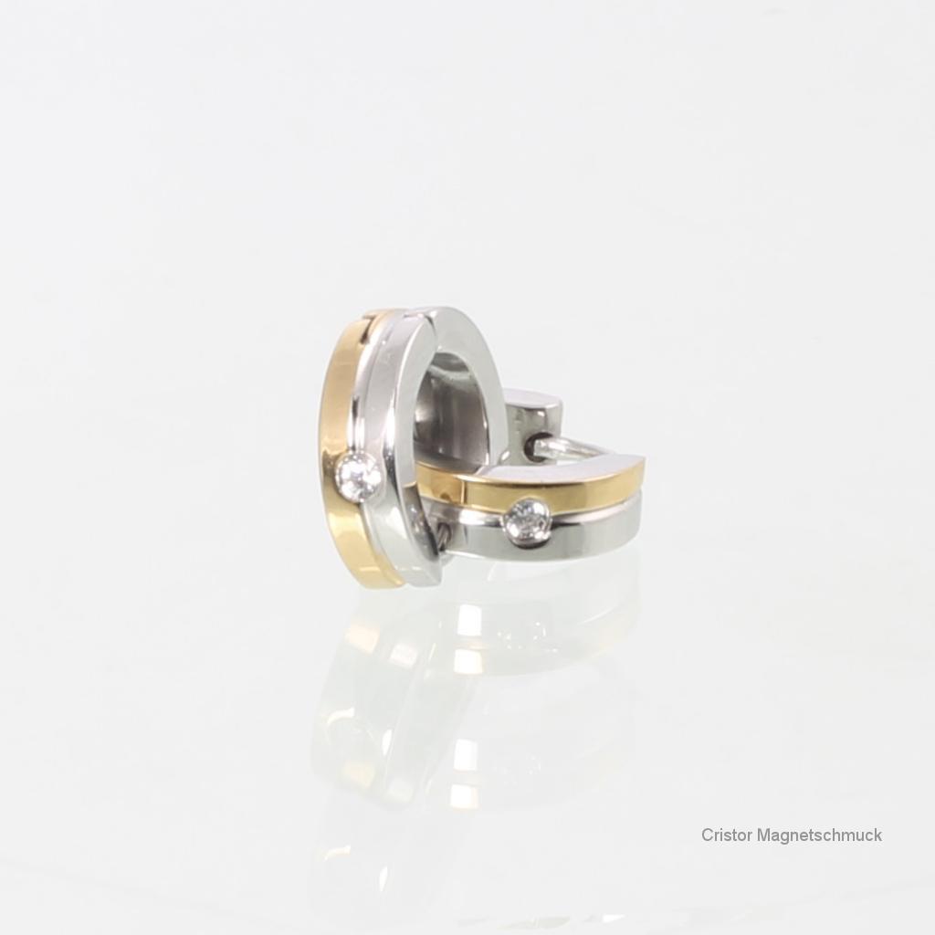 R3623BZSet - Magnetring und Ohrringe im Set bicolor mit Zirkonia