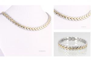 Halskette und Armband im Set bicolor - h9032bset