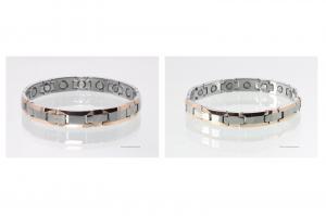 W8959BHP - Wolframarmbänder als Partnerset bicolor