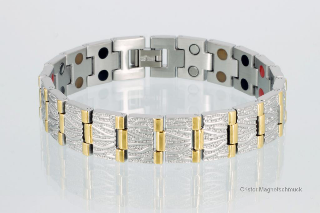 E8422B - Doppelreihiges 4-Elemente Armband bicolor