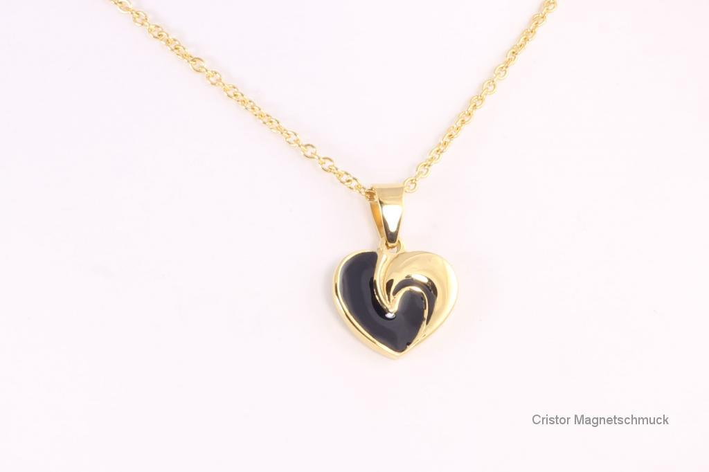 AE1527BLG - Energieanhänger Herz gold schwarz und Kette