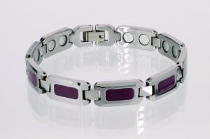 W8099Sl - Wolfram-Magnetarmband silber lila