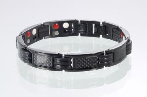 E8196BL - 4-Elemente Armband schwarz mit Carbonfasereinlage