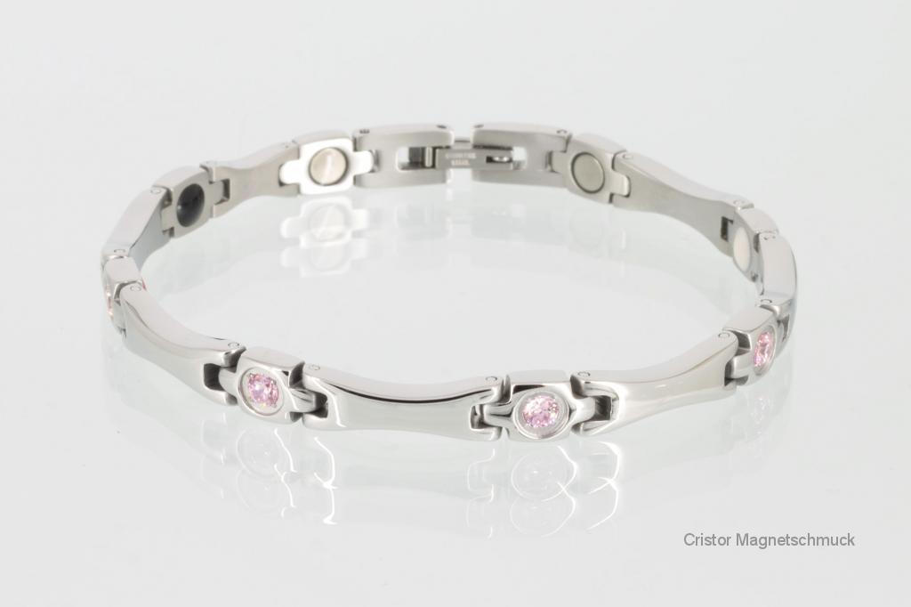E8560SZ - 4-Elemente Armband silberfarben mit Zirkoniasteinen