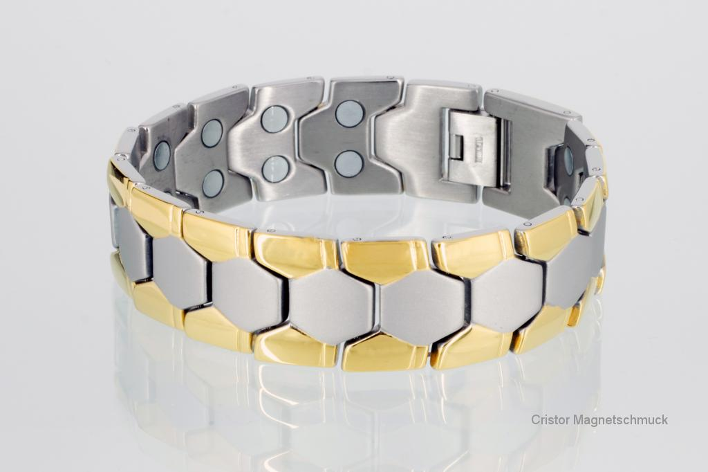 T8619B - Doppelreihiges Titanmagnetarmband bicolor