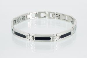 8430BLS - Magnetarmband silber schwarz