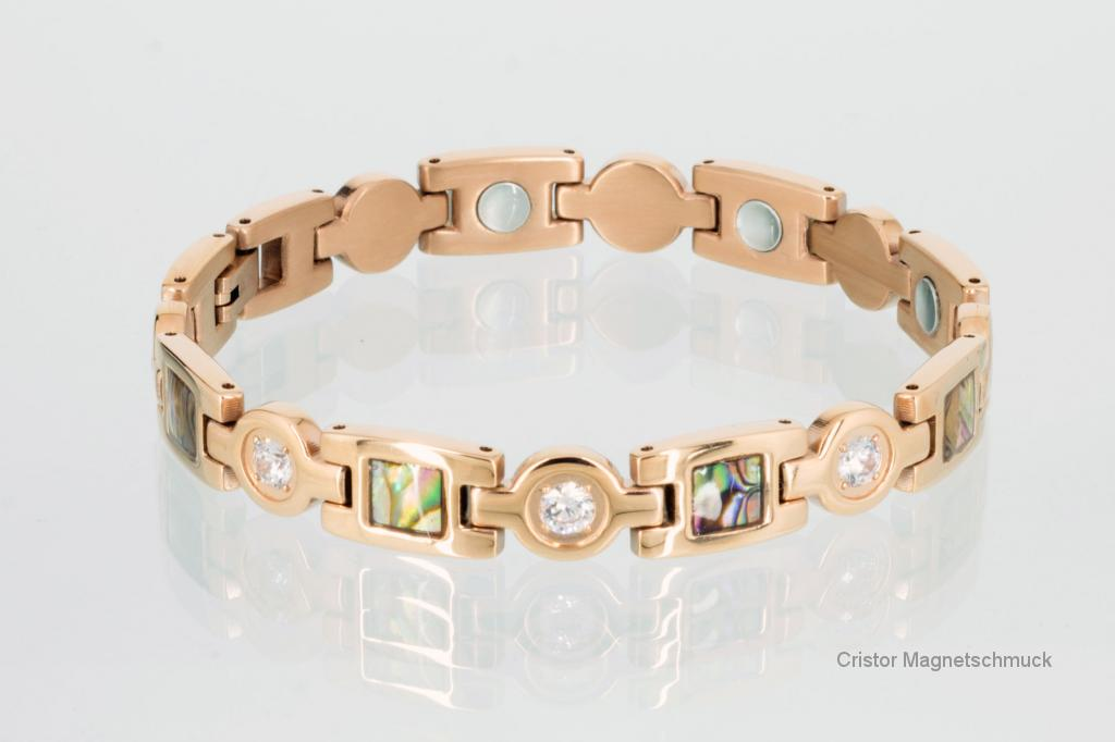 8847RGZ - Magnetarmband rosegoldfarben mit Zirkonia und Pauamuschel