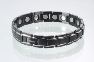 8262BLS4 - Magnetarmband schwarz silber mit extra-starken Magneten