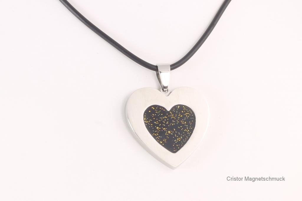 AE1421BLS - Energieanhänger silberfarben Herz mit schwarzer Einlage
