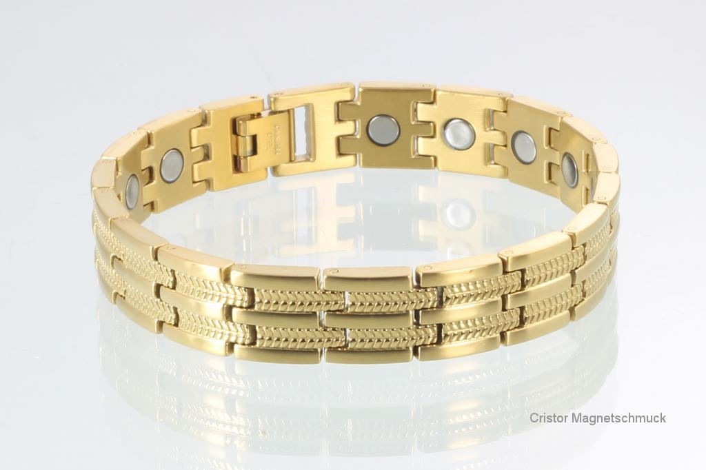 8007GP - Magnetarmbänder als Partnerset goldfarben