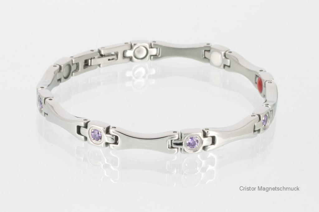 E8559SZ - 4-Elemente Armband silberfarben mit fliederfarbenen Zirkoniasteinen