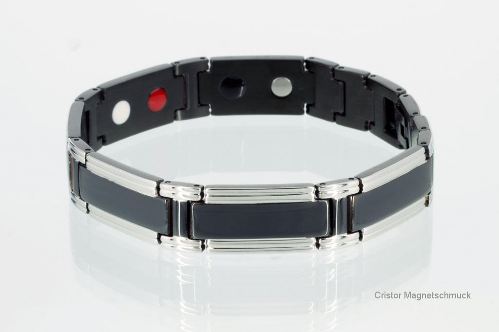 E8320BLS - 4-Elemente Armband schwarz silber
