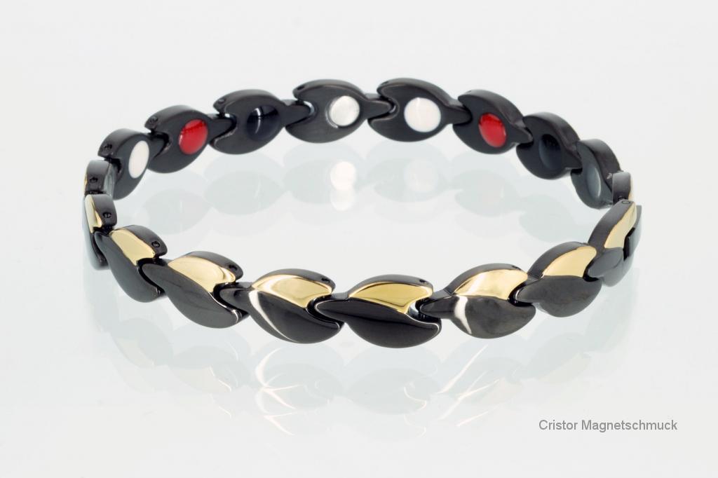 E8123BLG2 - 4-Elemente Armband schwarz gold