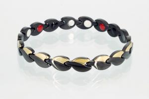 4-Elemente Armband schwarz gold - e8123blg2