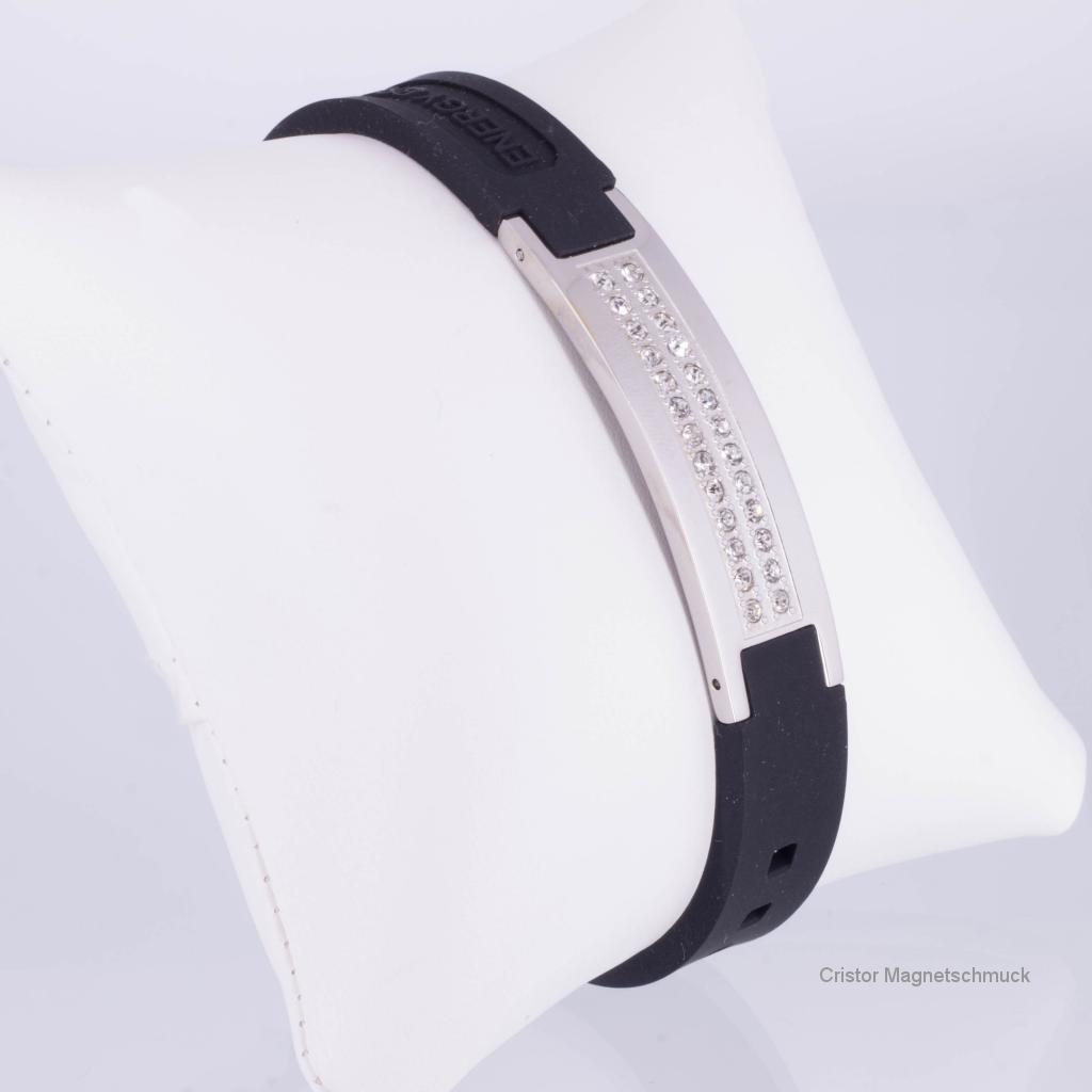 KEBL9070SZ - Energiearmband schwarz weiß mit Zirkoniasteinen