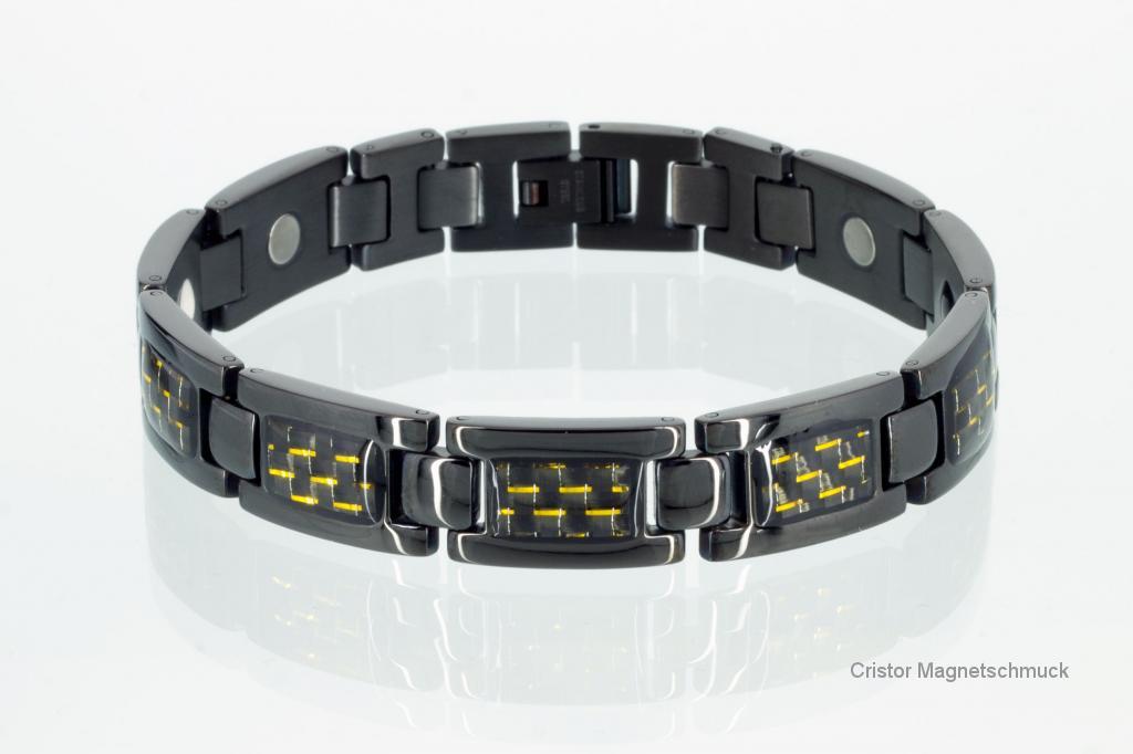 E8201BL - 4-Elemente Armband schwarz mit Carbonfasereinlage