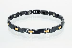4-Elemente Armband schwarz gold - e8214blg