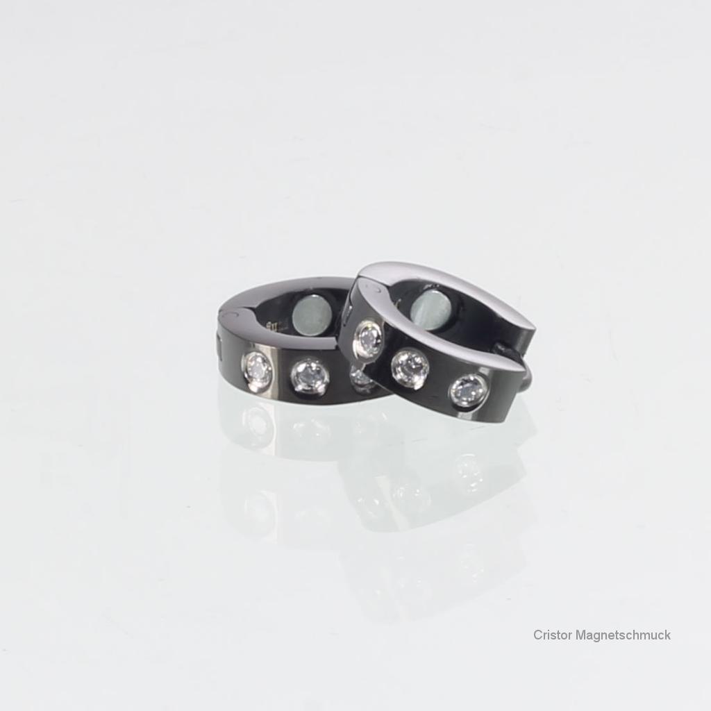 R3656BLZSet - Magnetschmuckset schwarz mit Zirkonia