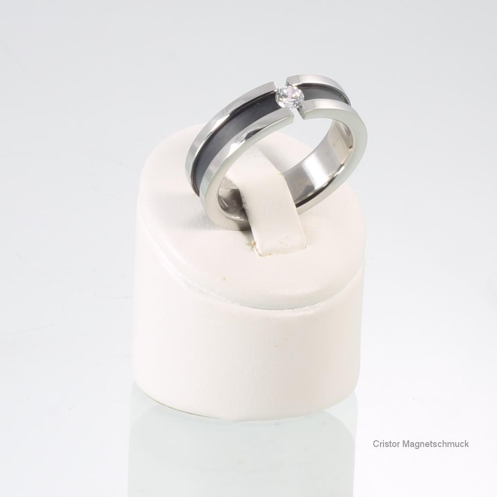 E8320BLSSet - Energiearmband und Ring im Set schwarz silber
