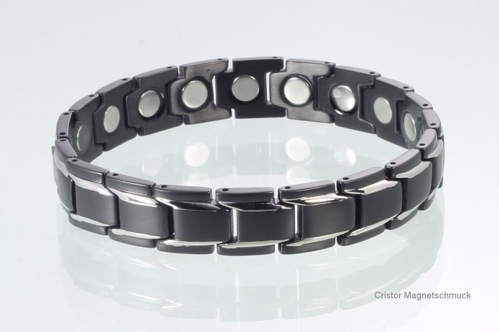 8262BLS4Set - Magnetschmuckset schwarz silber