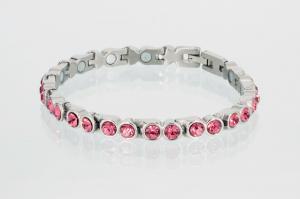 8519SZ - Magnetarmband silberfarben mit rosefarbenen Zirkonia