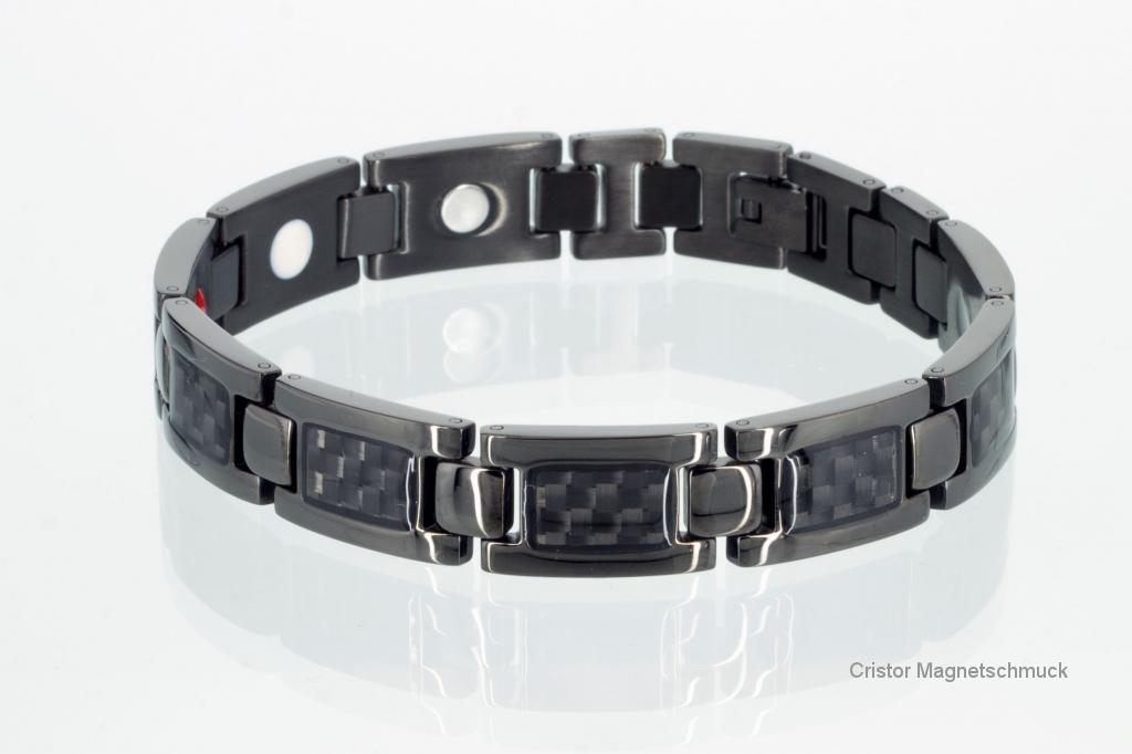 E8201BLb - 4-Elemente Armband schwarz mit Carbonfasereinlage