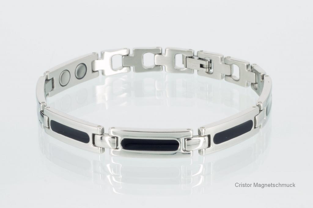 8430BLSSet - Magnetschmuckset silber schwarz