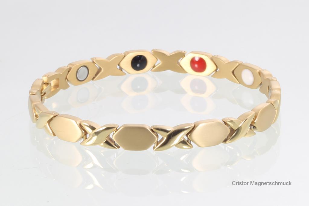 TE8315GSet - Titan-Energiearmband und Ohrringe im Set goldfarben
